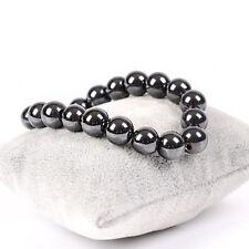 New Men Women's Magnetic Hematite Round Ball Beads Stretch Elastic Bracelet