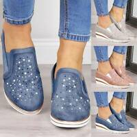 Womens Slip On Flat Trainers Ladies Casual Loafers Plimsolls Pumps Walking Shoes