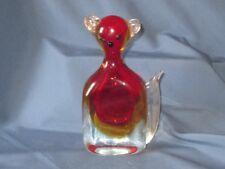 Vintage Venetian Murano Art Glass Stylized Cat Figure Figurine Amber Red & Clear
