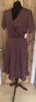 Lindy Bop Size 12 Bryony Chocolate Toffee Brown Polka Dot Frill 1940s Retro New