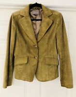 Ann Taylor Women's Jacket Size 4 Suede Leather Green Button Front Lined