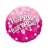 "Pink Sparkle 18"" Happy Birthday Helium Foil Balloon"