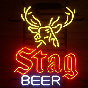 "19""X15""STAG BEER Neon Sign Bier Bar Kneipe Wandbehang Leuchtreklame Kunstwerk"