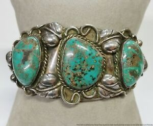 Old Pawn Stunning Turquoise Signed WB/WG Native American Silver Cuff Bracelet