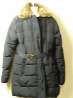 GIRLS M&S AGE 13-14 YEARS NAVY BLUE BELTED PADDED QUILTED COAT JACKET KIDS