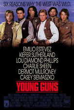 YOUNG GUNS Movie POSTER 27x40 Emilio Estevez Kiefer Sutherland Lou Diamond