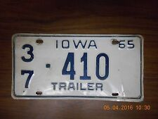 "IOWA LICENSE PLATE ""37 410"" 1965 TRAILER (1) PLATE USED"