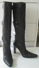 PLEIN SUD DESIGNER BLACK SOFT GLOVE LEATHER PULL UP HIGH HEELED BOOTS 36 US 6