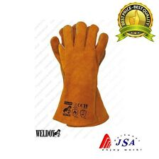 5 x Welding Gloves WELDOY,Heat Resistant,Leather Protective Gauntlets