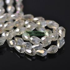 Wholesale 50pcs Teardrop Faceted Crystal Glass Loose Spacer Beads Jewelry 5X7mm