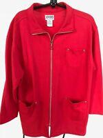 "Avon Style red sweatshirt full zip half turtleneck pockets women's M long 29"""