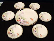 Zeh, Scherzer & Co dessert set pink purple flowers gold trim Bavaria Z S & Co