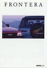 Prospekt 1992 Opel Frontera Autoprospekt 9 92 Geländewagen Auto Pkw brochure 4x4