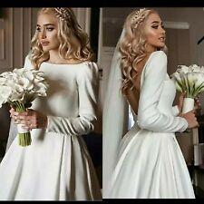 UK White/ivory Long Sleeve Satin A Line Bridal Open Back Wedding Dress Size 6-18