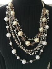 "AVON SAQ 5 STRING ACRYLIC CHARCOAL FACETED & FAUX PEARL BEAD 32"" NECKLACE (J59)"