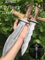 PACK OF 2 CUSTOM HAND MADE DAMASCUS STEEL BOWIE&DAGGER  KNIFE HANDLE STAG HORN