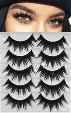 5 Pairs FALSE EYELASHES EYE LASH MINK WISPY LONG WISPIES CASE NATURAL THICK 3D