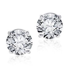 1.25 CARAT STUDS SOLITAIRE EARRINGS 14KT WHITE GOLD ROUND CUT SCREWBACK