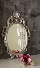Espejo de Pared Plata Antigua Ovalado 43x27 maquillaje bad-friseurspiegel c531