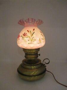 Vintage Fenton Table Hurricane Lamp Hand Painted By Diane Gessel
