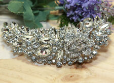 "5"" Rose Long All Glass Crystal Wedding Art Deco Vintage Hair Comb"