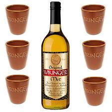 Wikinger Met Honigwein 1 Flasche Met 0,75l + 6 Met Tonbecher 0,1 l Honig Wein