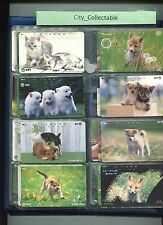 JAPAN USED PHONE CARDS * 8 PCS CATS & DOGS # JP40