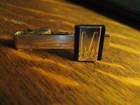 Swank Vintage 1960's Letter M Monogram Initial Silver Chrome Black Tie Bar Tack