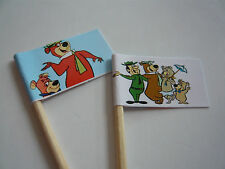 20 RETRO/VINTAGE CUPCAKE FLAGS/TOPPERS - YOGI BEAR CHILDRENS BIRTHDAY PARTY