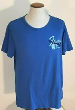 Mens Fender Vintage T Shirt Lucky Brand Design Blue Size Large Cotton Worn Faded