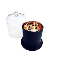 DELUXE METRO - MATT BLACK / ROSE GOLD AND GLASS CLOCHE COVER.