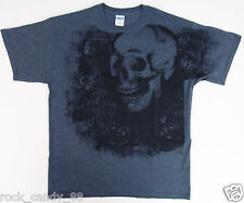 SKULL Graveyard T-shirt Halloween Graffiti Art Tee Adult LARGE Slate Gray New