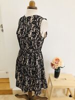 Pretty Black Lace Effect Party Sleeveless Skater Fit & Flare Tea Dress Size 10