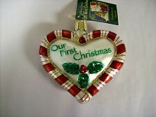 """""""Peppermint Heart"""" (30020) Old World Christmas Glass Ornament"""