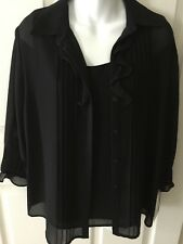 Blouse black chiffon 2 piece camisole and top by Virgo Size 10