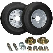 "2 PACK Trailer Trolley Wheel Hubs, Wheels & Stub Axles 8"" 4.00-8 500kg"