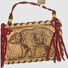 "5.5"" Wood Ornament - Bear Walking Design- Wood Beads & Suede Leather Trim - New!"