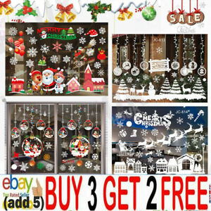 Christmas Xmas Santa Removable Window Stickers Art Decals Wall Home Shop Decor`