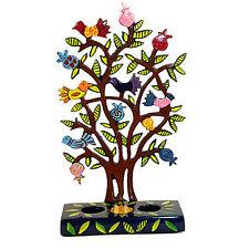 Shabbat Candelsticks Painted Laser Metal Cut Bird Tree