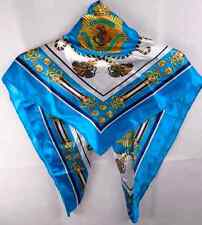 Ladies Vintage Style  Sailor Touquise Blue Pattern Silk Blend Square Scarf