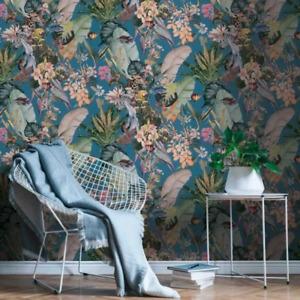 """""""Funky Safari Floral"""" Wallpaper in Teal"""