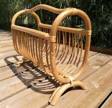 porte revue vintage en bambou cintré vannerie rotin ancien design H40xL44xl20cm