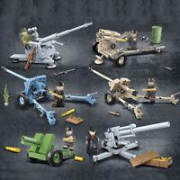 6pcs/set Militär Kanone Waffen Bausteine Blocks mit WW2 Soldaten Armee Figuren