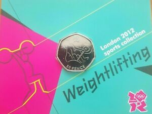 Weightlifting Olympic 50p royal mint carded