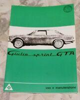 ALFA ROMEO Giulia Sprint GTA Bedienungsanleitung use e manutenzione Ausg. 1965