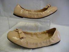 PRADA Womens Ballet Flats 39.5 9.5 Beige Patent Leather Bow Italy Rubber Soles