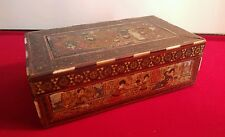 AMAZING MID-VICTORIAN PERSIAN HAND PAINTED SADELIWARE TRINKET BOX c1865