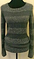 Neiman Marcus The Cashmere Collection Womens Pullover Sweater Small Gray Stripe