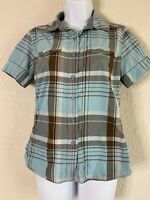 The North Face Womens Size S Blue Plaid Button Up Shirt Short Sleeve