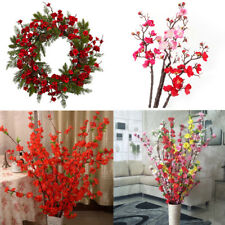 Artificial Plum Blossom Flowers Cherry Spring Peach Branch Silk Tree Home Decor